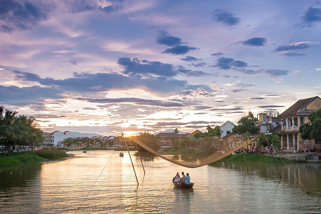Boat trip in Thu Bon River to see the scenic sunset, Hoian, Vietnam