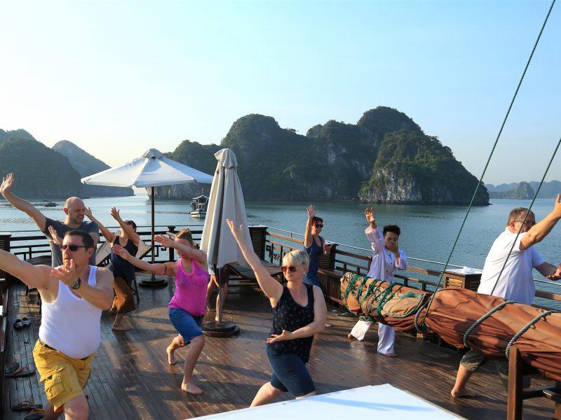 Morning Tai Chi in Halong Bay Vietnam, Vietnam Travel, Cozy Vietnam Tours