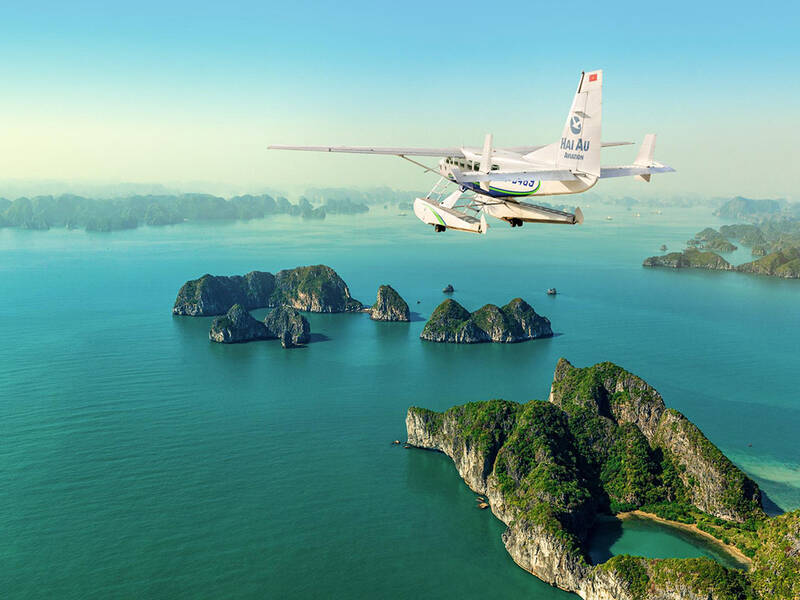 Halong Bay from Seaplane, Halong Bay Vietnam, Vietnam Luxury Package Tours