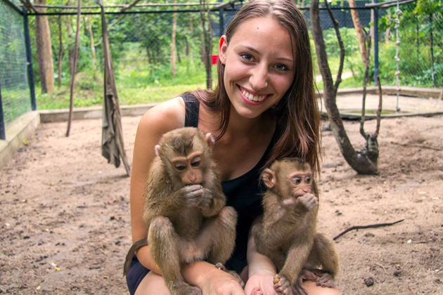 Play with baby Macaques in-Phnom Tamao Wildlife Sanctuary