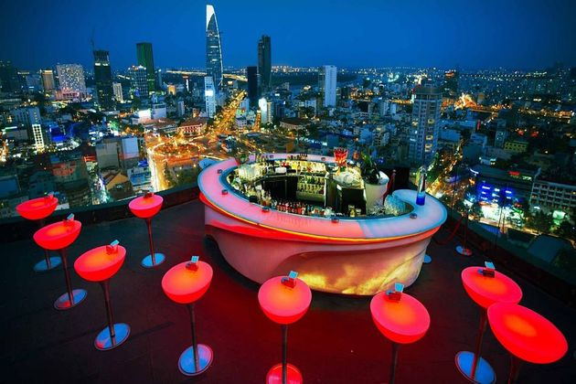 Rooftop Bar in Ho Chi Minh, Cozy Vietnam Travel