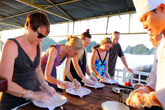 Cooking Demonstration Halong Bay, Halong Bay Cruises, Cozy Vietnam Tours