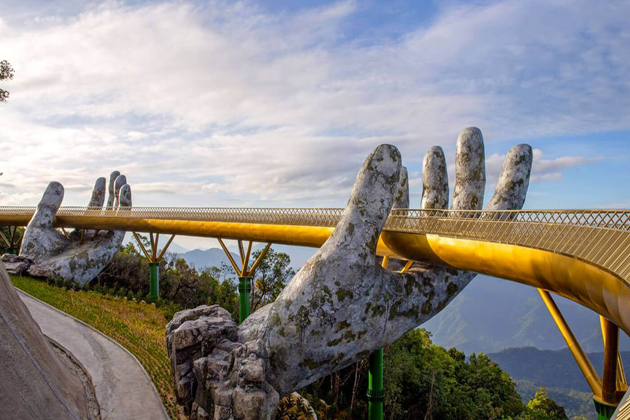 Golden Gate Bridge in Ba Na Hills Da Nang, Cozy Vietnam Travel