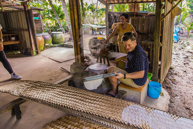 Making Rice Paper in Mekong Delta, Cozy Vietnam Package Tours, Vietnam Travel