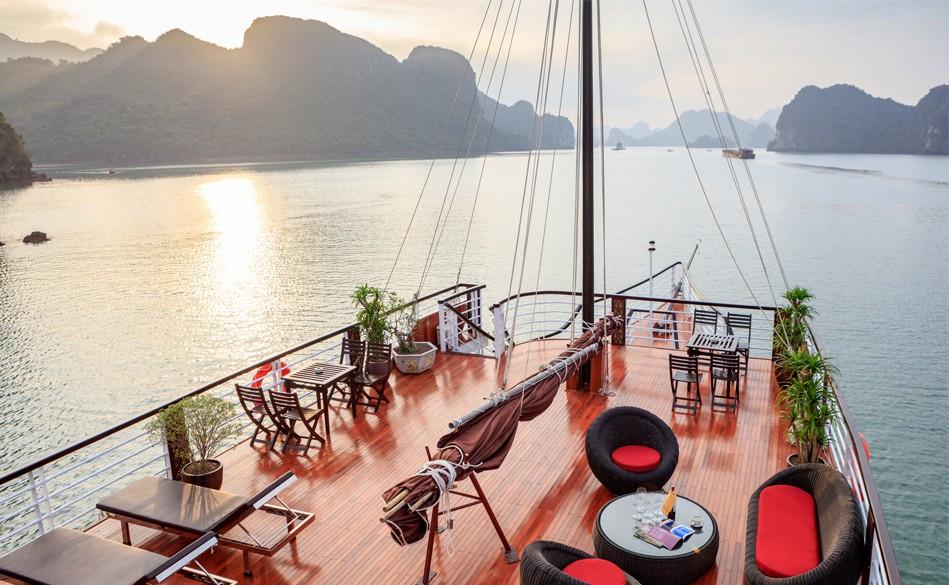 sundeck of Escapes Sail, Cozy Vietnam Travel